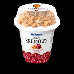 Jogurt krem wiśnia z granolą 230g Bakoma